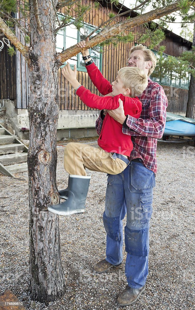 Father helping his son to climb a tree royalty-free stock photo