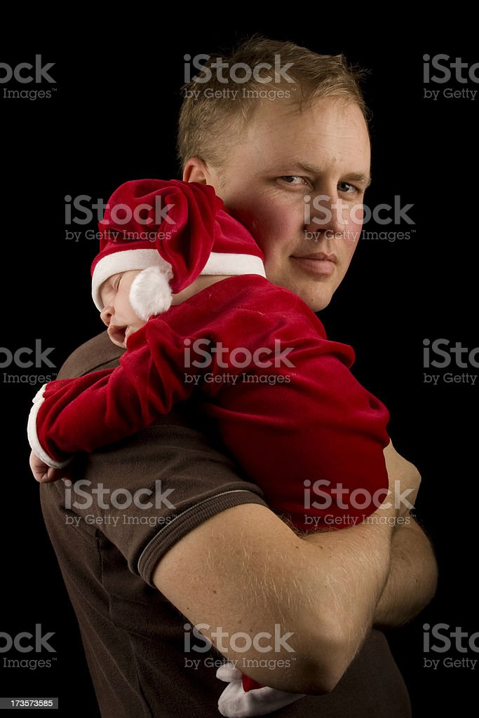 Father holding christmas child royalty-free stock photo