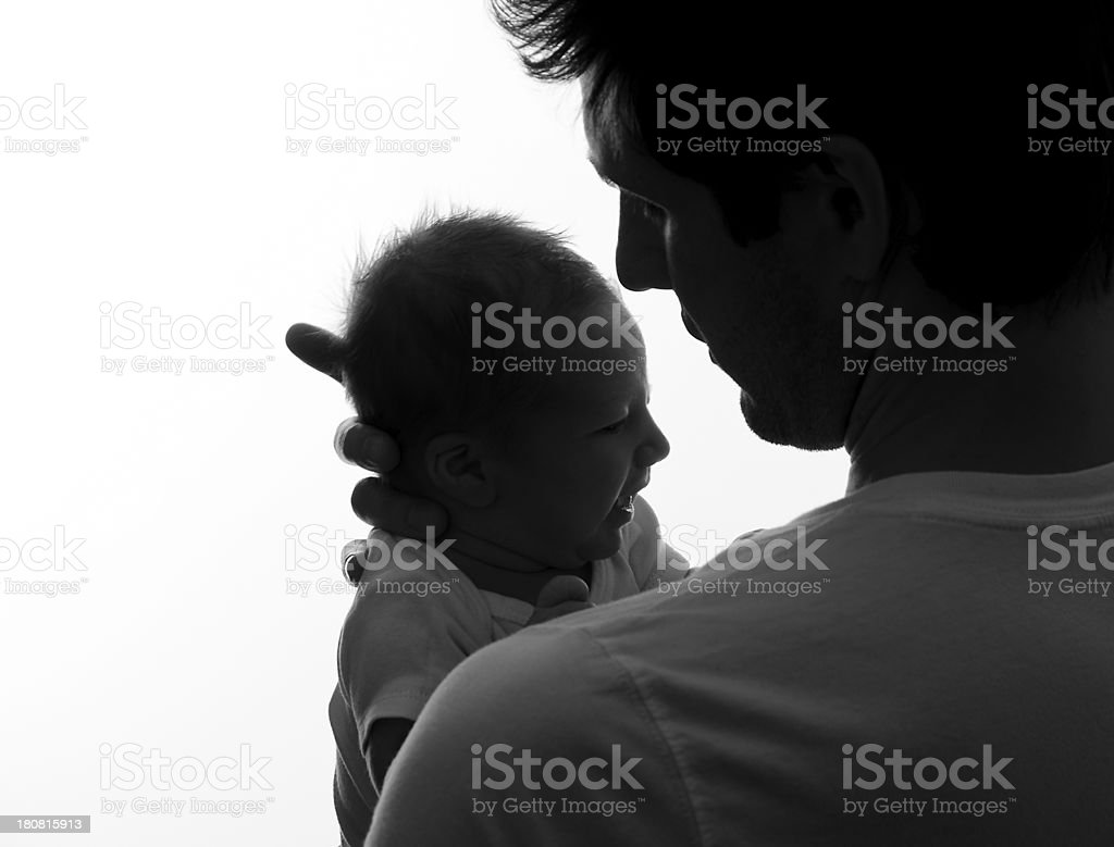 Father Holding Newborn Son royalty-free stock photo