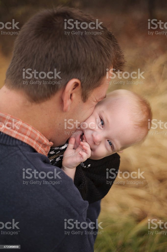 Father Kissing Son royalty-free stock photo