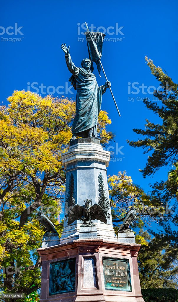 Father Miguel Hidalgo Statue Outside Parroquia Cathedral Dolores Hidalgo Mexico stock photo