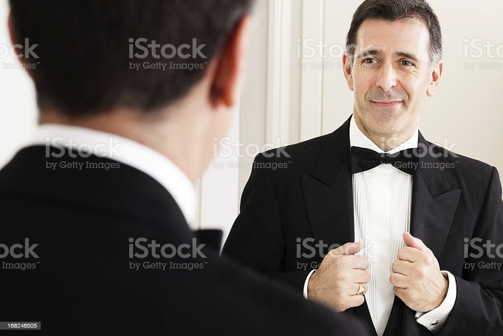 Father of the bride getting ready stock photo