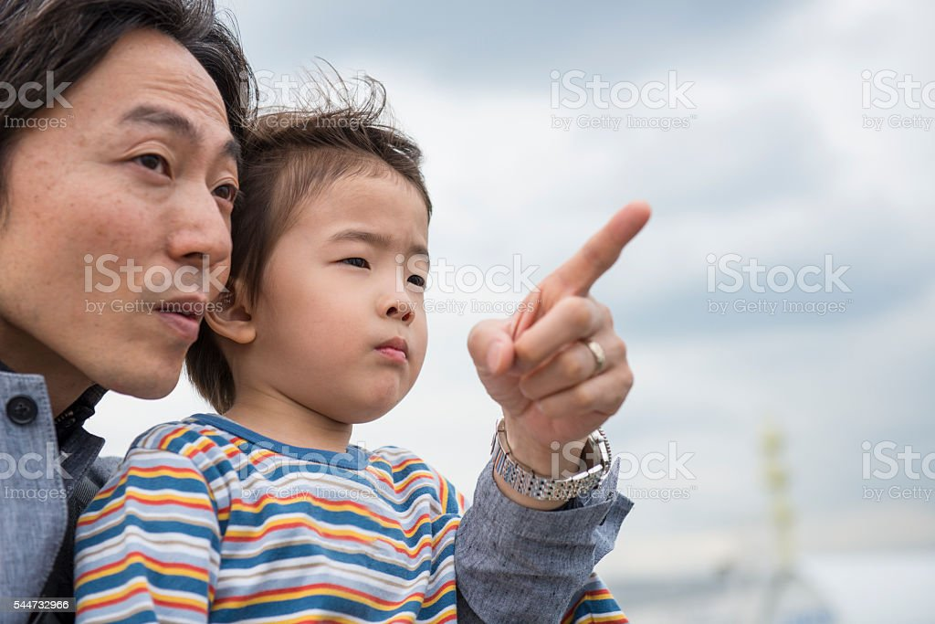 Father pointing something to his son. stock photo