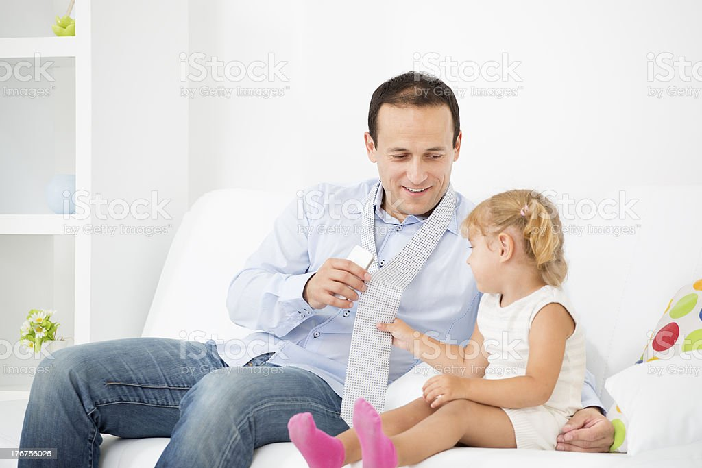 Father Prepearing For Job. royalty-free stock photo