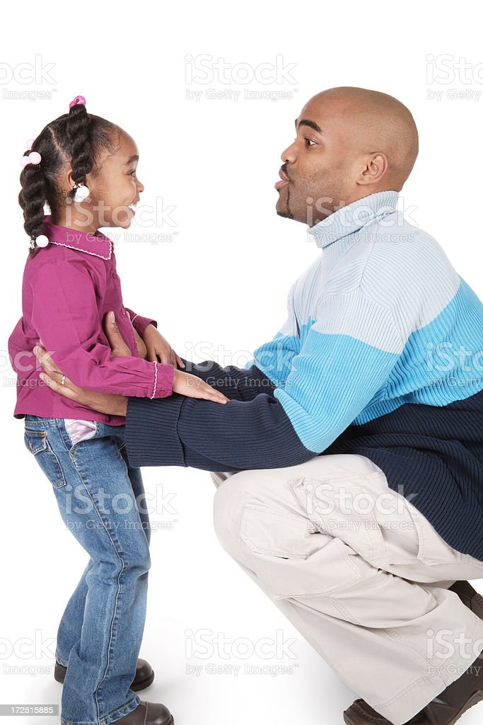 Father Settling Down His Little Girl royalty-free stock photo