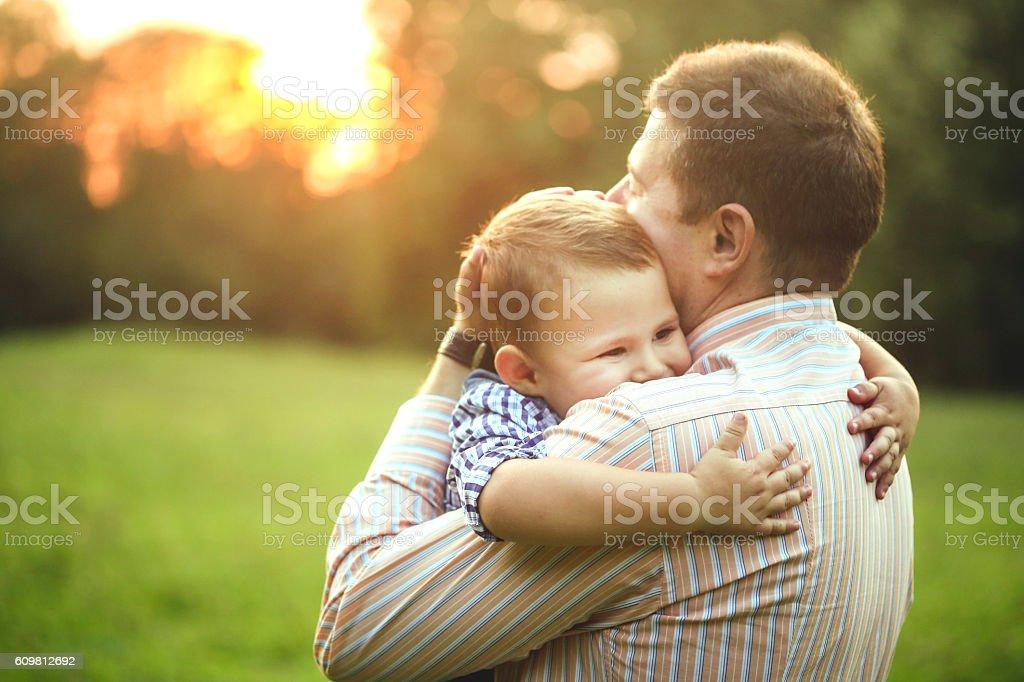 Father son bonding stock photo