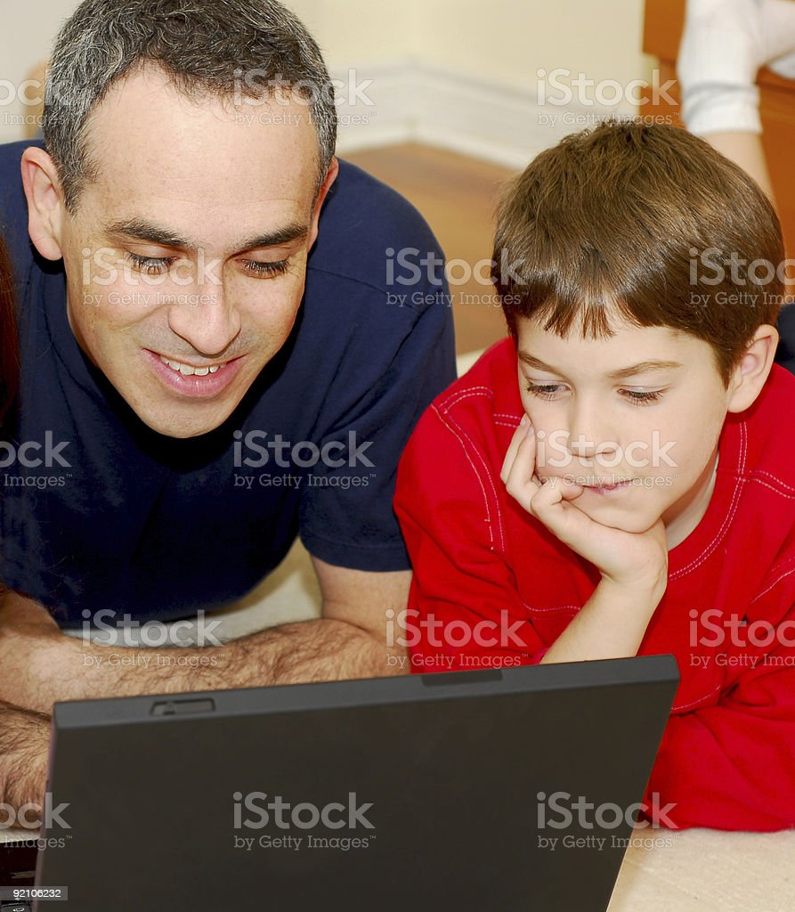 Father son computer stock photo