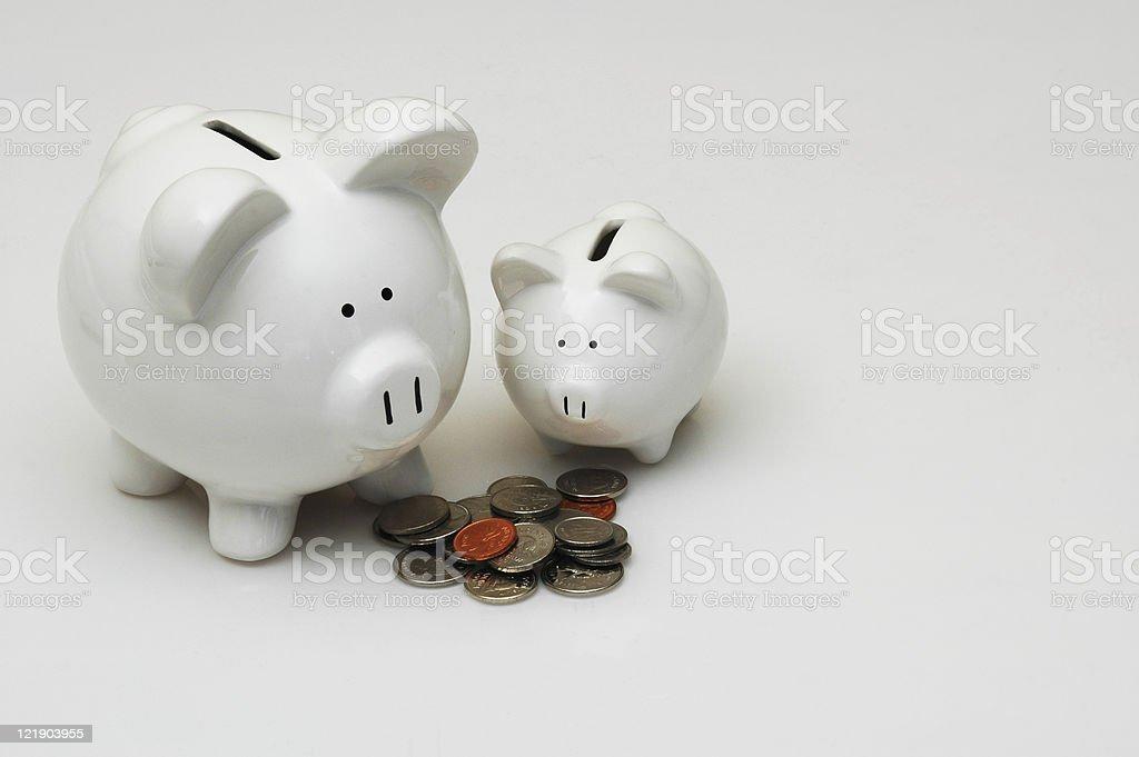 Father & Son Piggy Bank stock photo