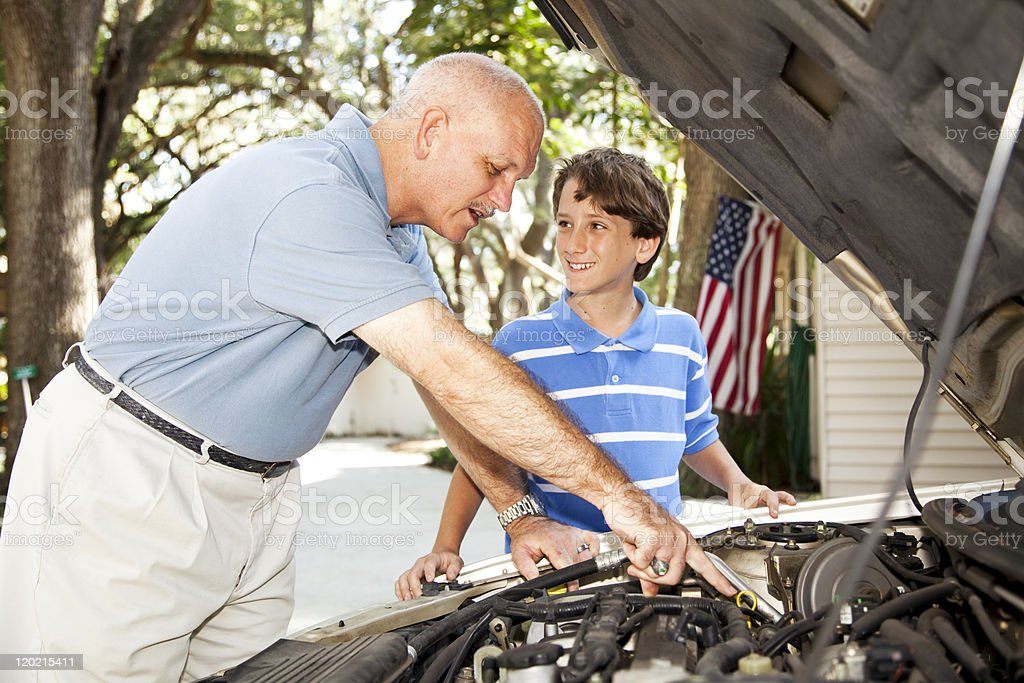 Father Son Project royalty-free stock photo
