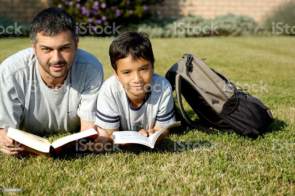 Father & Son Reading royalty-free stock photo