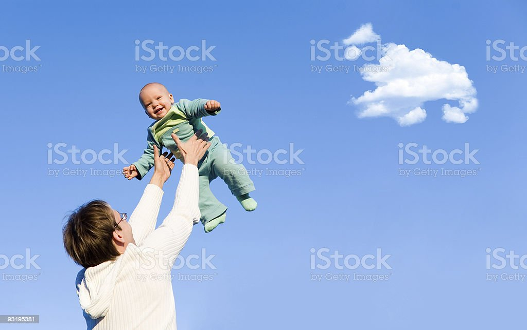 Father throw up his son royalty-free stock photo