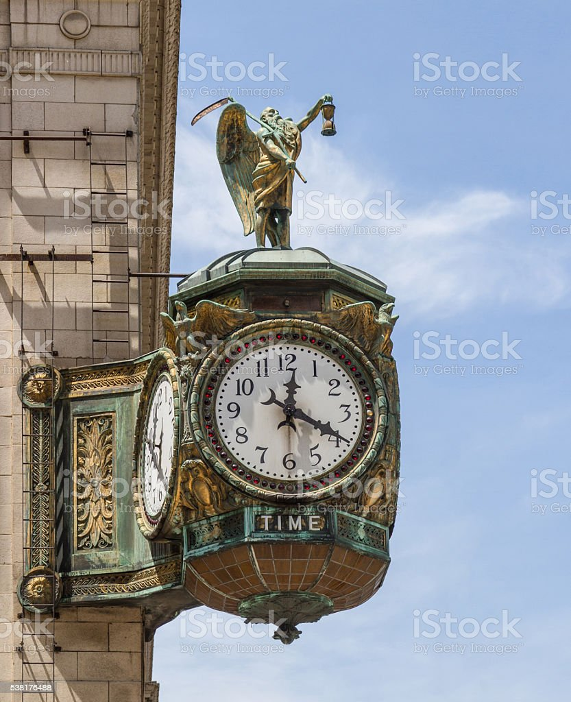 Father Time Clock on Jewelers Building, Chicago stock photo