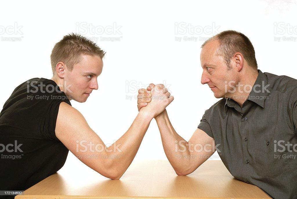 father vs. son stock photo