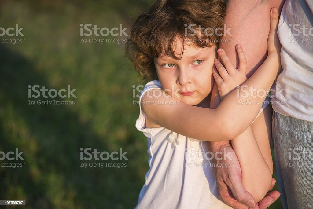 Father with little daughter stock photo