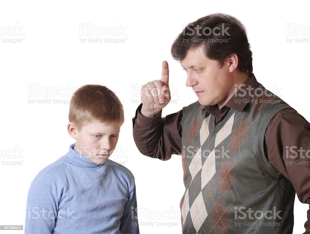 father with son isolated on white stock photo