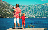 father with two kids travel in Montenegro