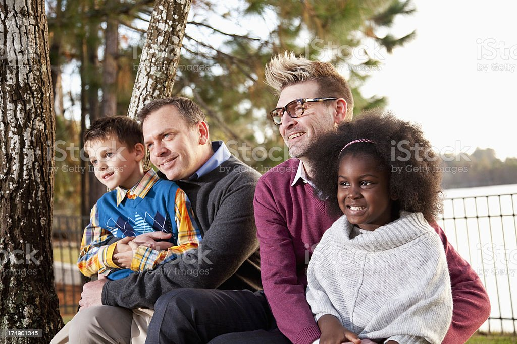 Fathers and children stock photo