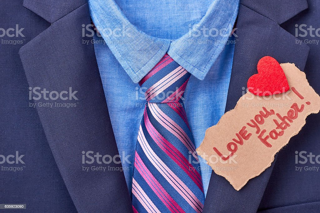 Father's Day card on suit. stock photo