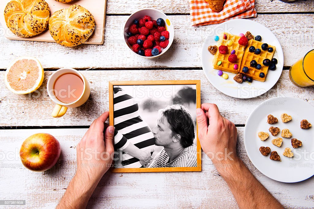 Fathers day composition. Black-and-white photo, breakfast meal stock photo
