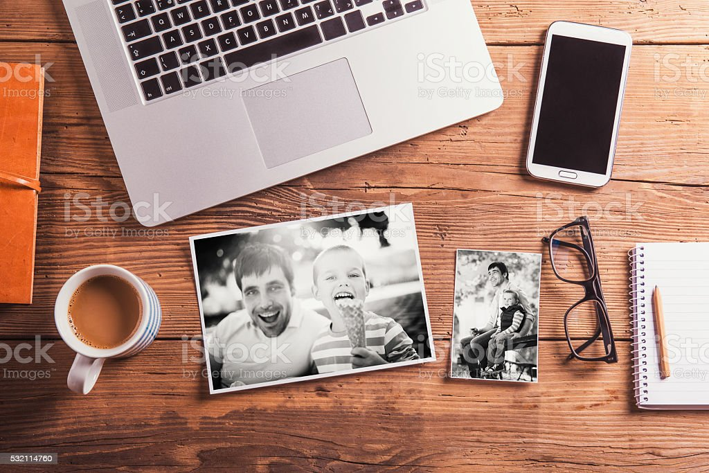 Fathers day composition. Black-and-white photo. Office desk. stock photo