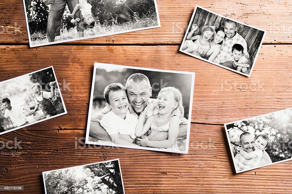 Fathers day composition. Black-and-white pictures, studio shot. stock photo