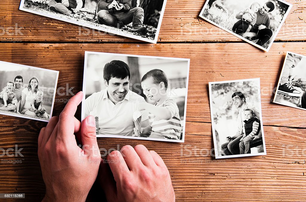 Fathers day composition. Black-and-white pictures, studio shot stock photo