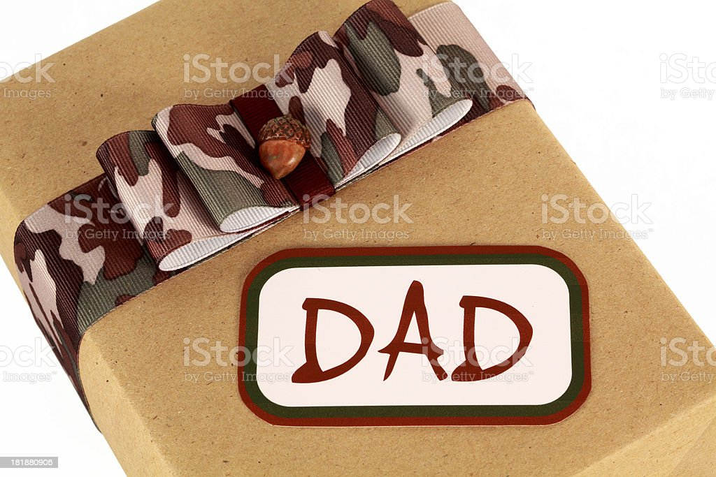 Father's Day Gift for Dad with Camouflage Bow stock photo