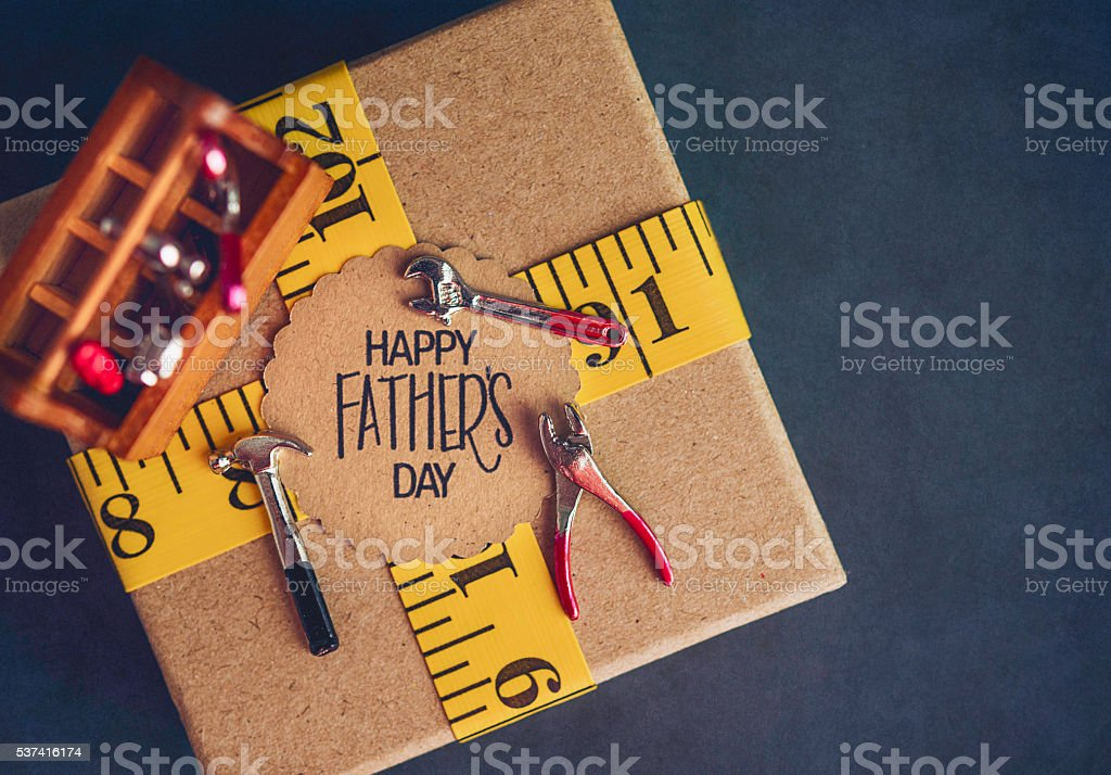 Father's Day gift for DIY dad with tools and copyspace stock photo