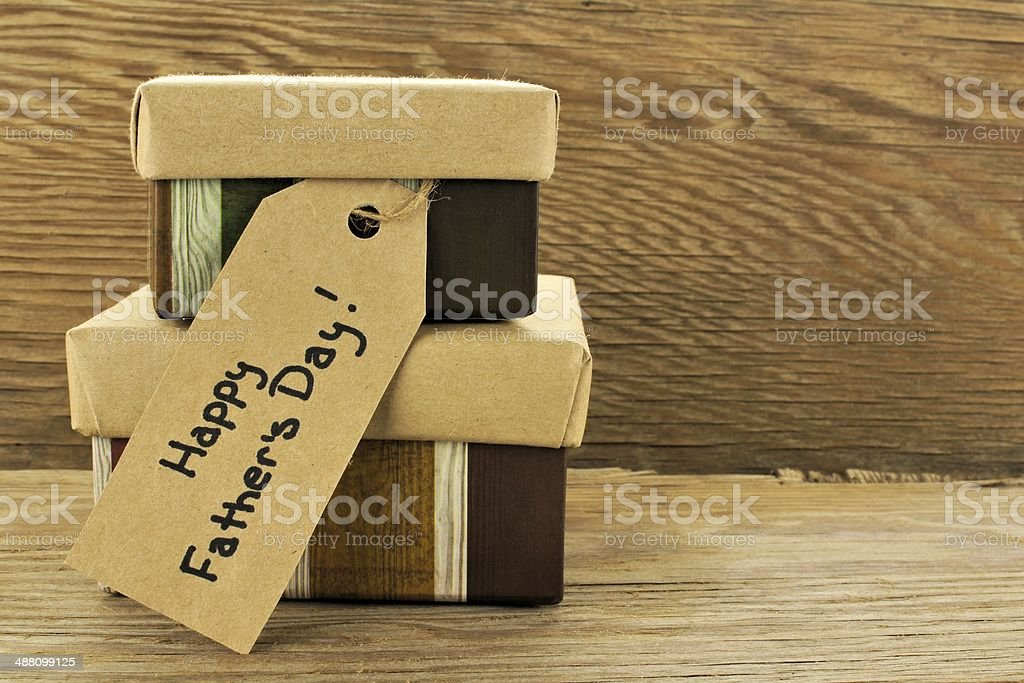 Fathers Day gifts on wood stock photo