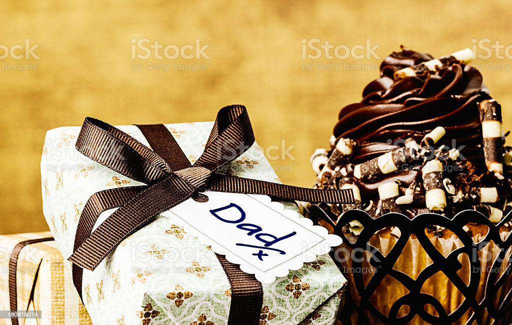 Father's Day Gifts with Cupcake royalty-free stock photo