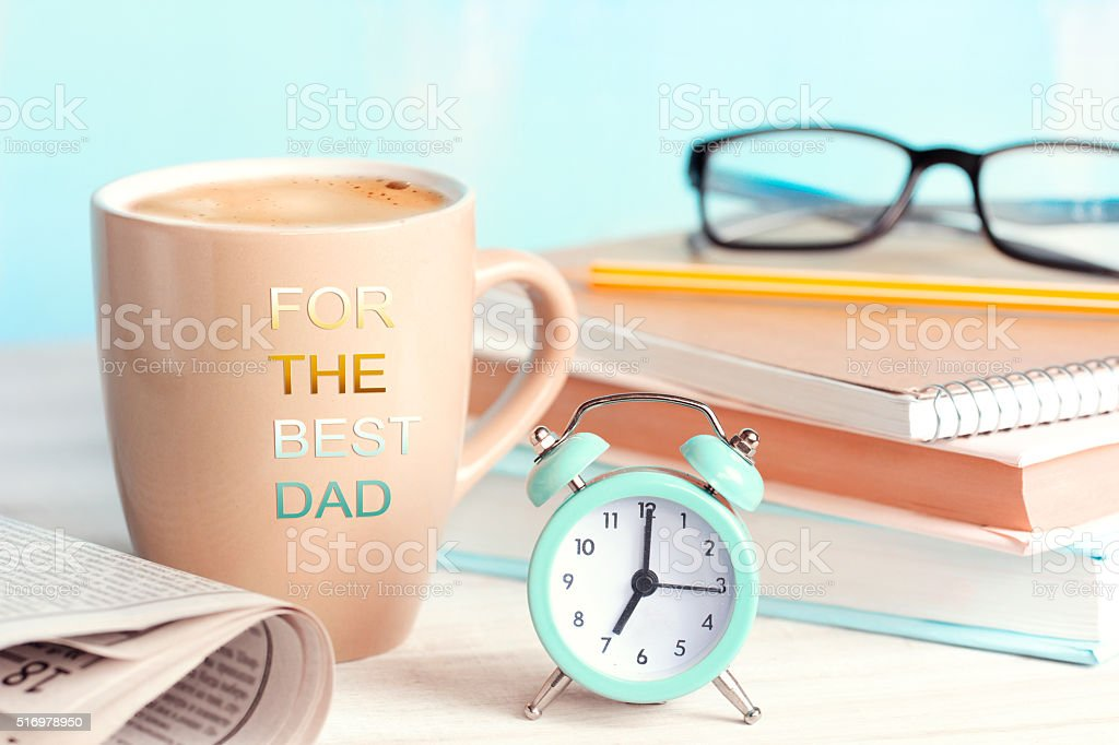 Father's day holiday morning coffee concept. stock photo
