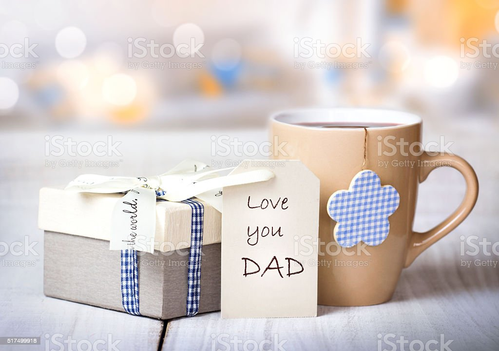 Father's day holiday morning coffee greeting crad background. stock photo