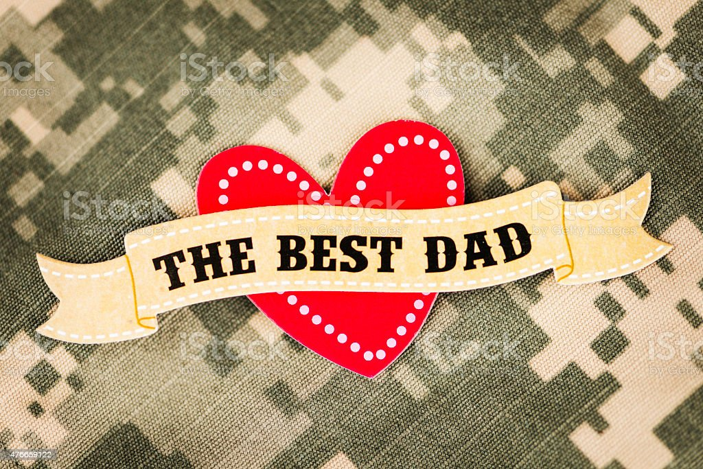 Father's Day message for the military dad. Best Dad message. stock photo