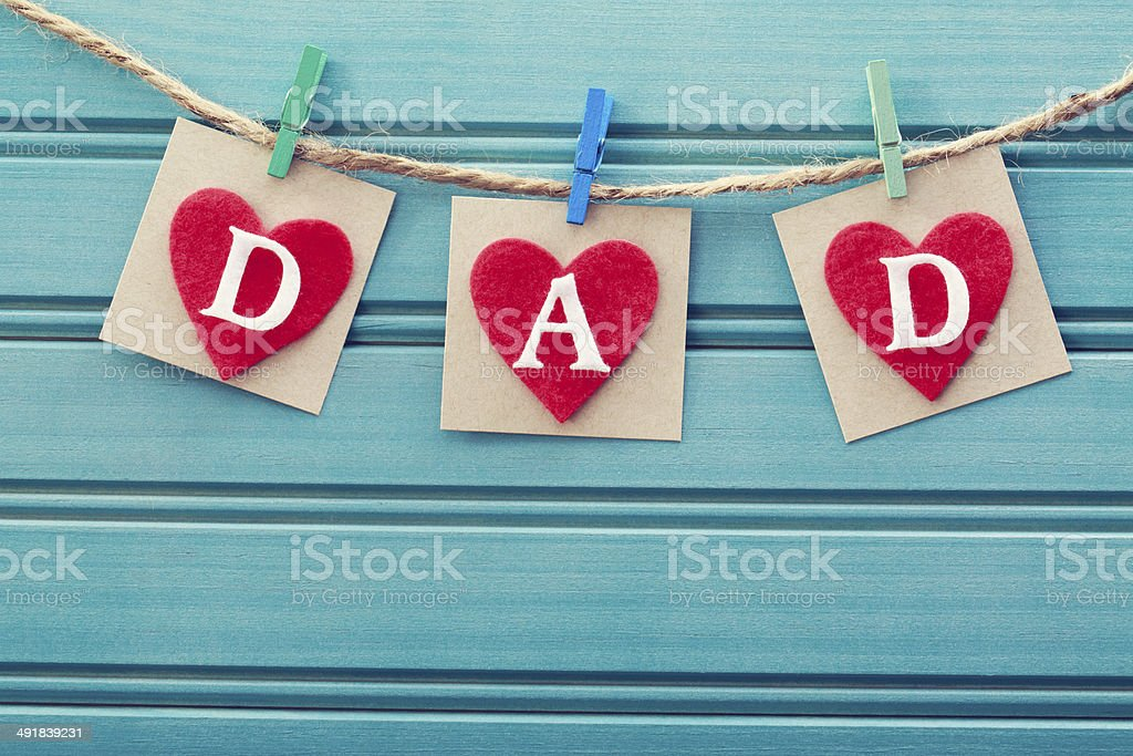 Fathers day message on felt hearts stock photo