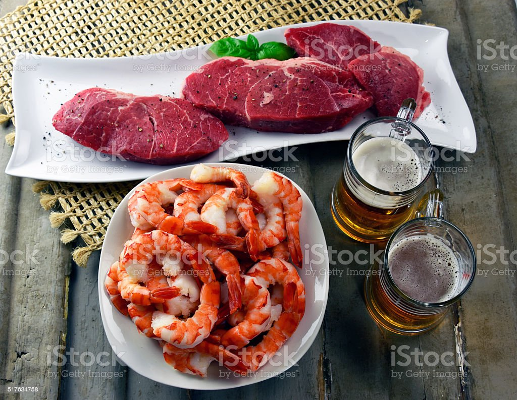 Fathers Day Steak and shrimp with craft beer stock photo