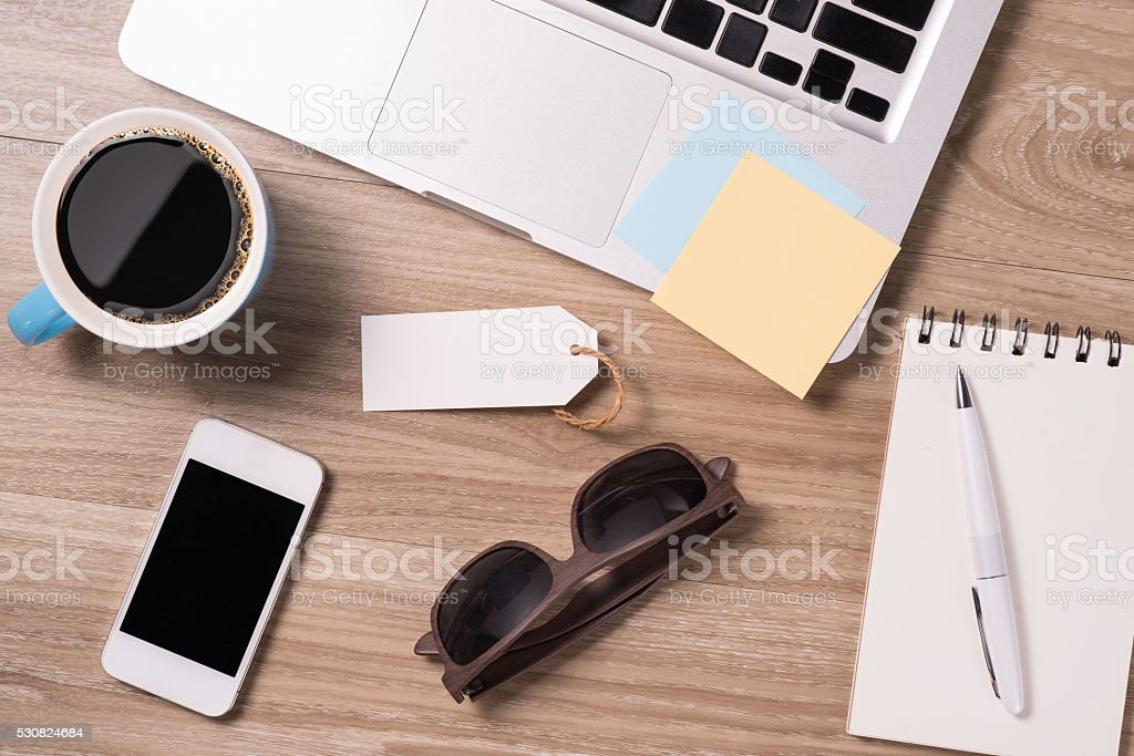 Fathers Day tag office stuff on wooden table stock photo