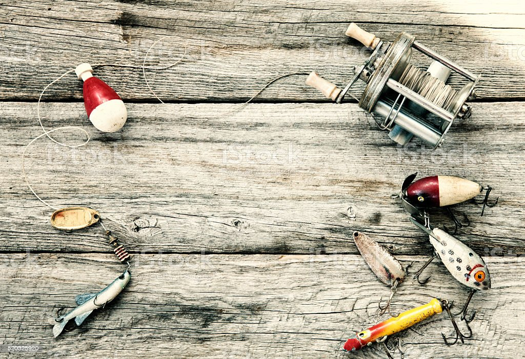 Father's day Vintage Fishing Tackle on Wood Background stock photo
