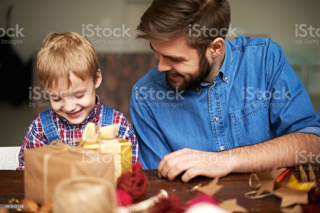 Father-son activity stock photo