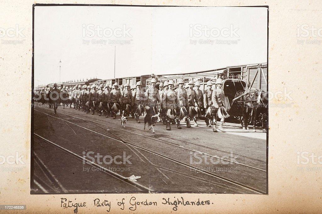 Fatigue party of Gordon Highlanders stock photo