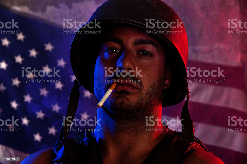 Fatigued Soldier royalty-free stock photo