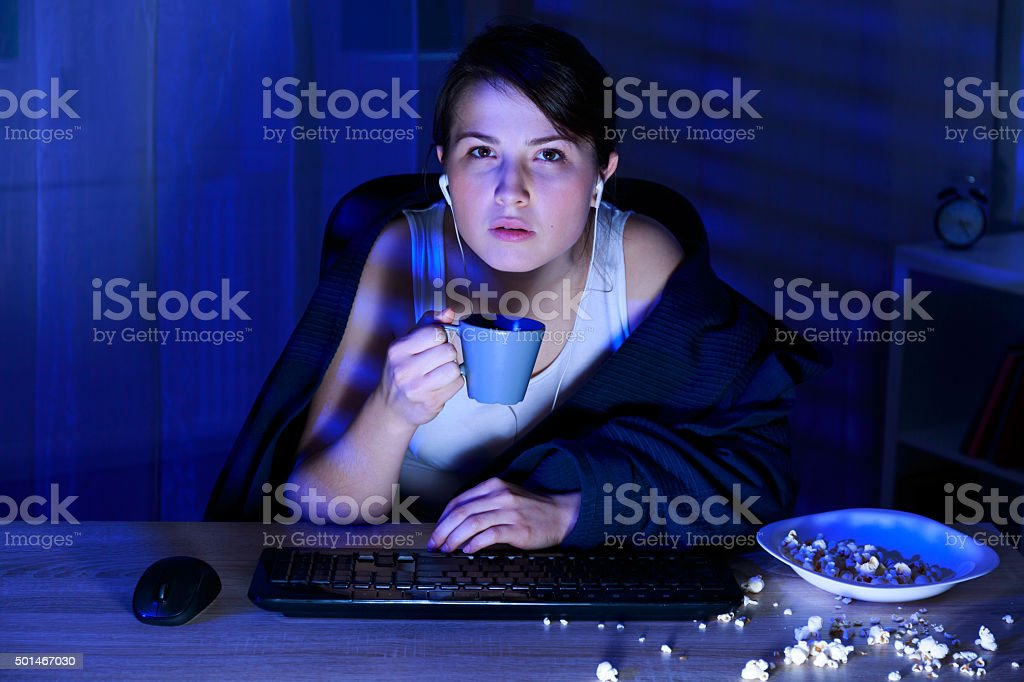 Fatigued young woman stock photo