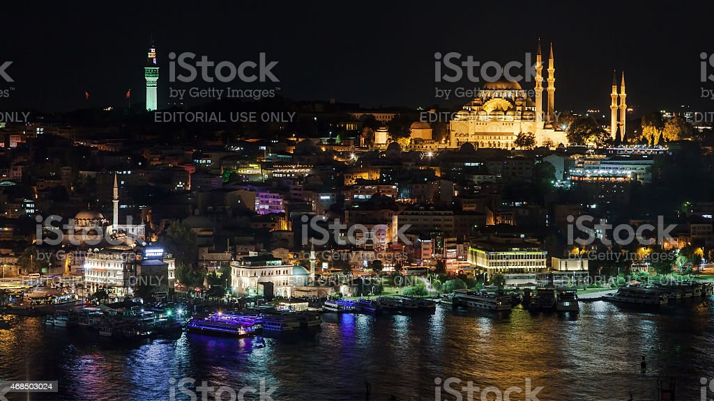 Fatih district by night stock photo