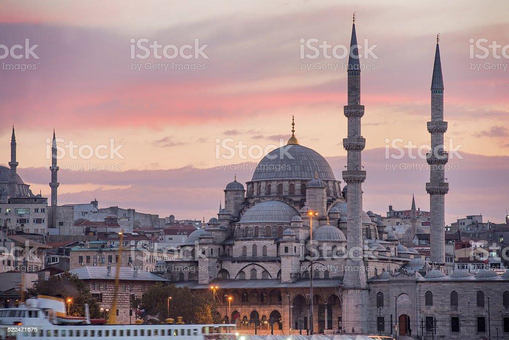 Fatih Istanbul Turkey New Mosque Yeni Cami at Sunset stock photo