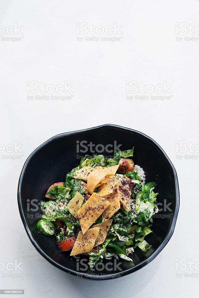 fatoush fattoush traditional classic lebanese middle eastern salad stock photo