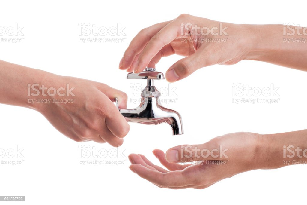 Faucet and human hands stock photo