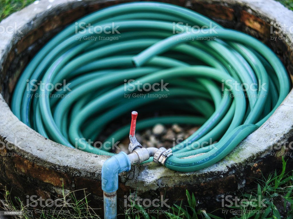 Faucet and Rubber tube stock photo