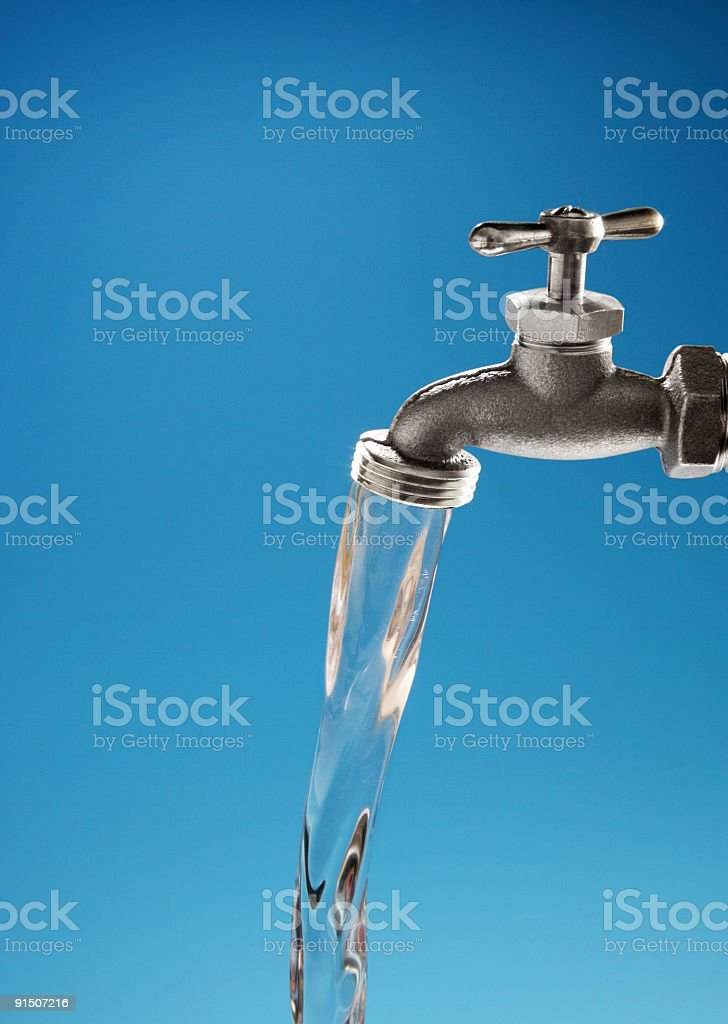 Faucet And Running Water stock photo