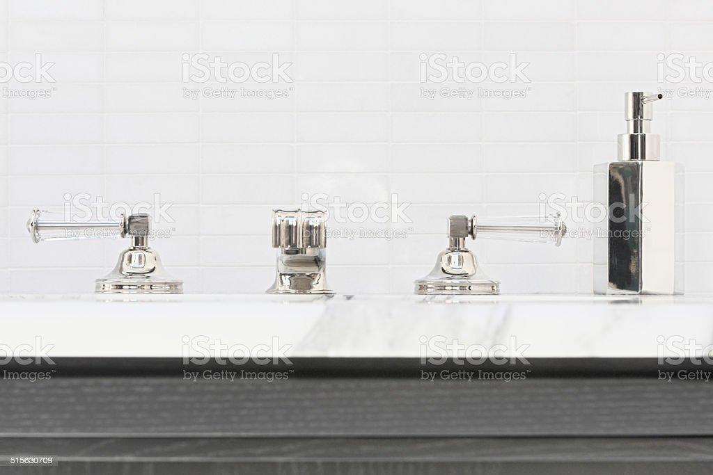 Faucet Sink Posh Bathroom Decor stock photo