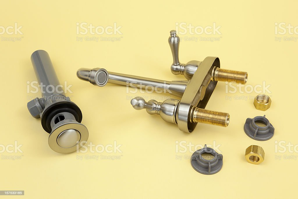 Faucet with Drain and Connectors royalty-free stock photo