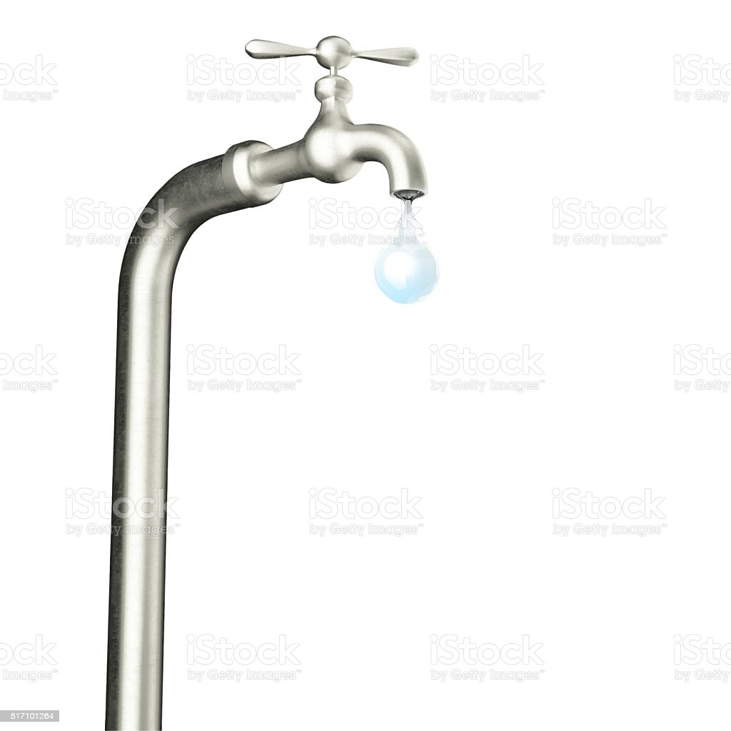 faucet with water drop isolated on white background stock photo